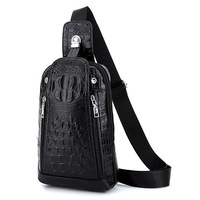 Brand Men's Chest Bag Leather Crocodile Chest Bag Travel Chest Pack Leather Men Messenger Bags