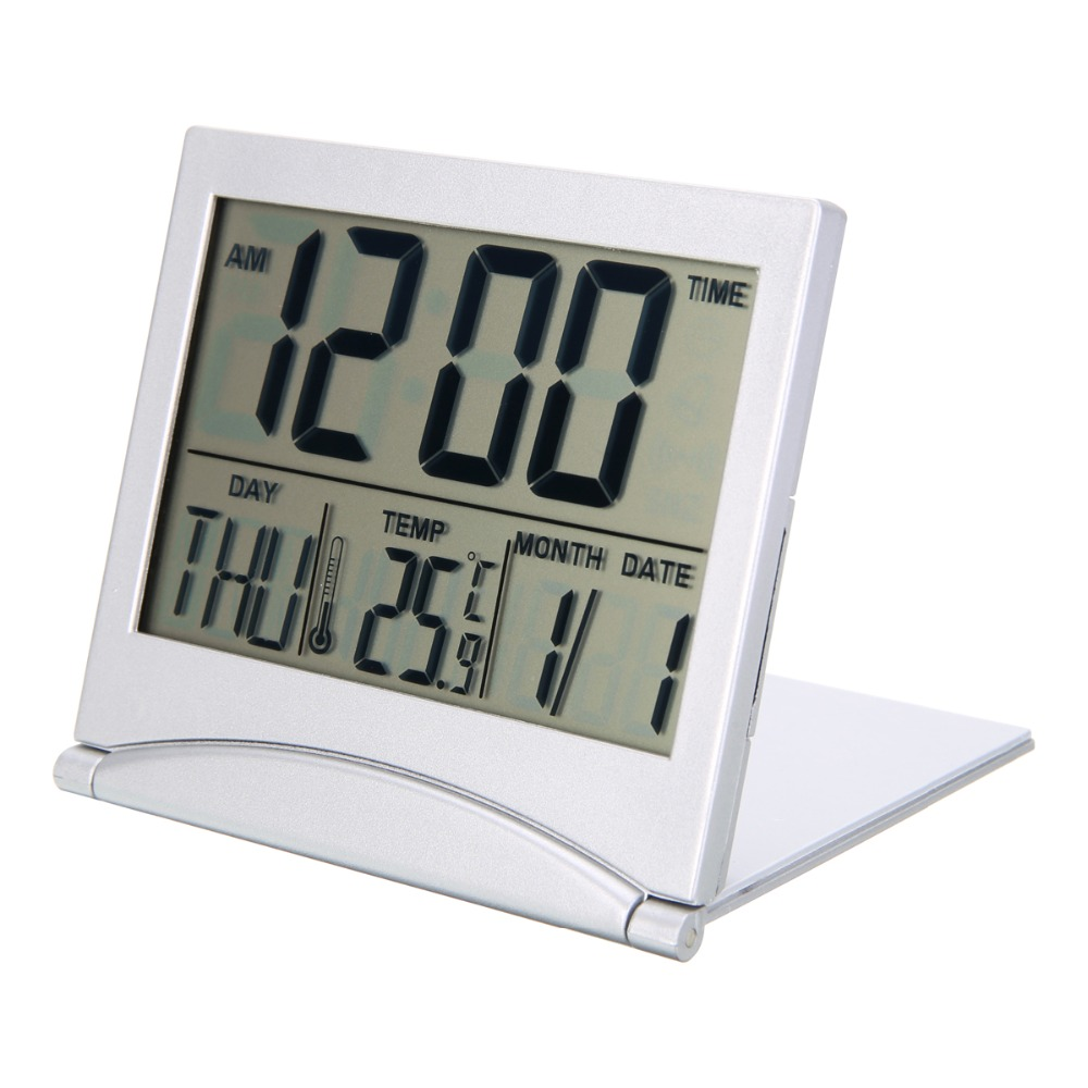 Mayitr Folding LCD Mini Travel Alarm Clock Weather Station Desk Temperature digital Clock Alarm for Home Travel Supplies