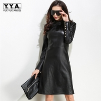 Punk Style Womens Zipper Long Sleeve Stand Collar Dress Female New Fashion Vestidos Genuine Leather Button Slim Robe Femme Black