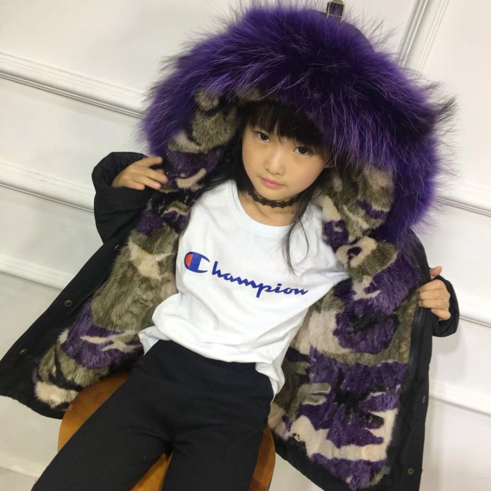 Boys Girls Fur Jacket Children Mink Liner Coat Real Raccoon Fur Hooded Girls Jacket Winter Warm Kids Parkas Clothes TZ331 hm023 women s winter hats real genuine mink fur hat winter women s warm caps whole piece mink fur hats