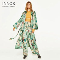 INNOR Floral Print Blouse Shirt Long Kimono Women Sashes Pocket Kimono Cardigan Elegent Long Sleeve Summer