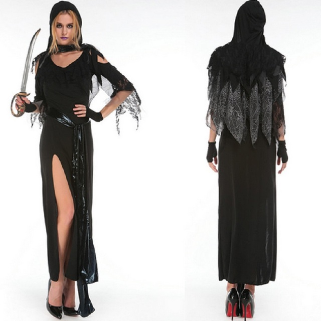 new hot sale long black dress cosplay cool witch costume halloween costumes for women