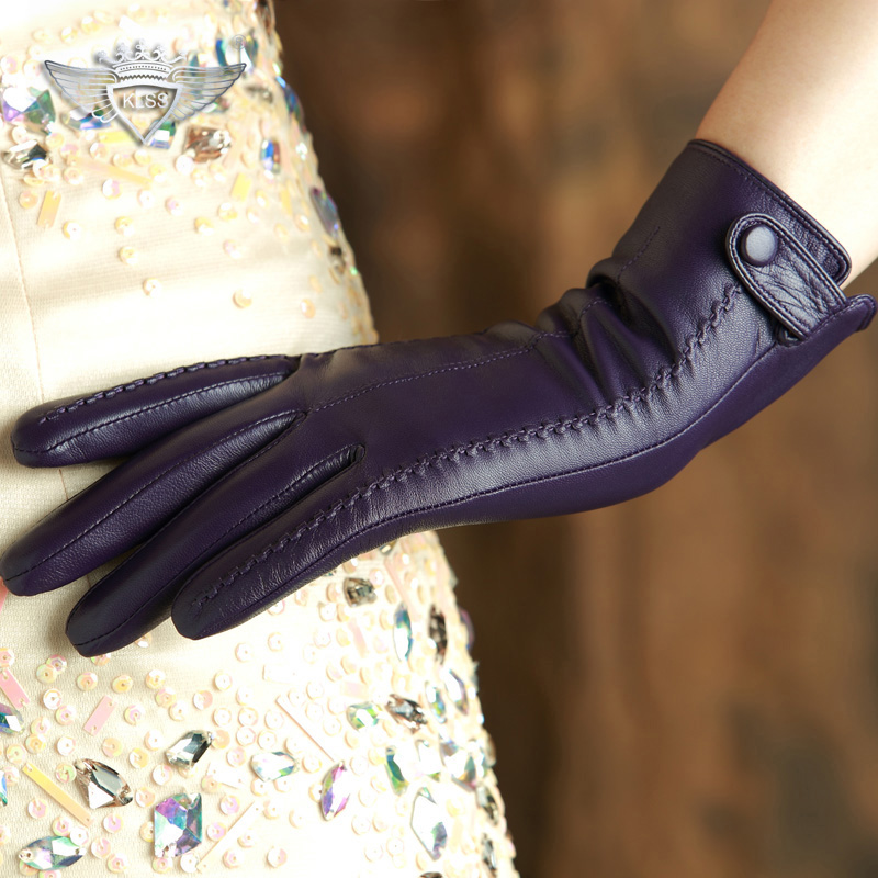 KLSS Brand Genuine Leather Women Gloves Wrist Plus Buckle Elegant Lady Sheepskin Gloves High Quality Goatskin