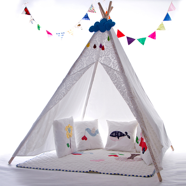New design Kids Teepee Play Tent for lace carton child play tent white color children game  sc 1 st  AliExpress.com & New design Kids Teepee Play Tent for lace carton child play tent ...