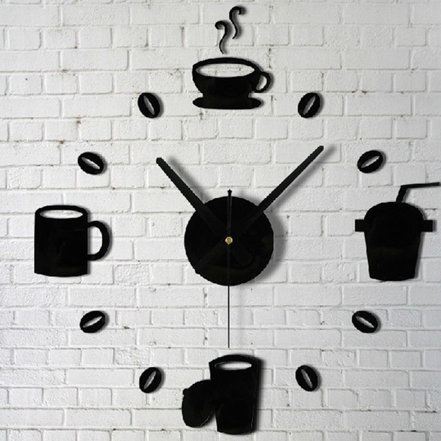 Coffee Cups Beans 3D DIY Wall Clock Acrylic Stickers Quartz Modern Home Decoration Retro Kitchen Wall Clock GF150
