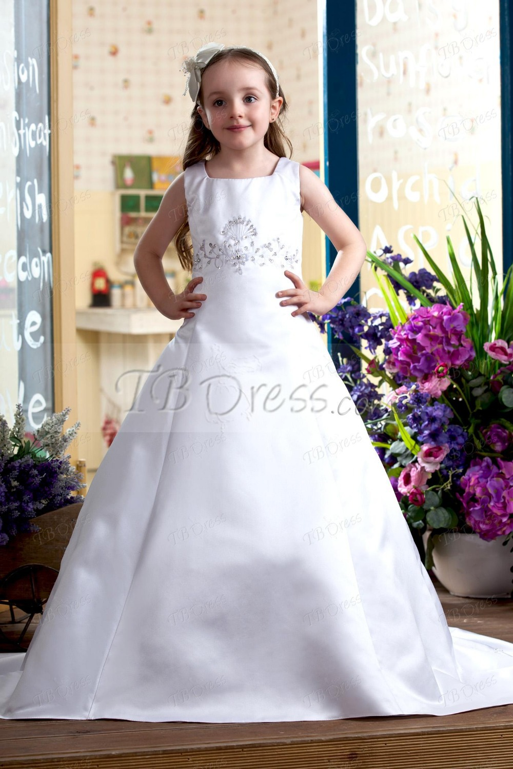 ФОТО customised a-line embroidery beading white/ivory long ball gown girls wedding party dress/toddler pageant gown