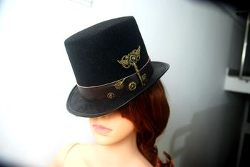 New Costume Steampunk Top Hat with Belt & Gears Key Accessories Handmade Trilby Hats Gothic  1