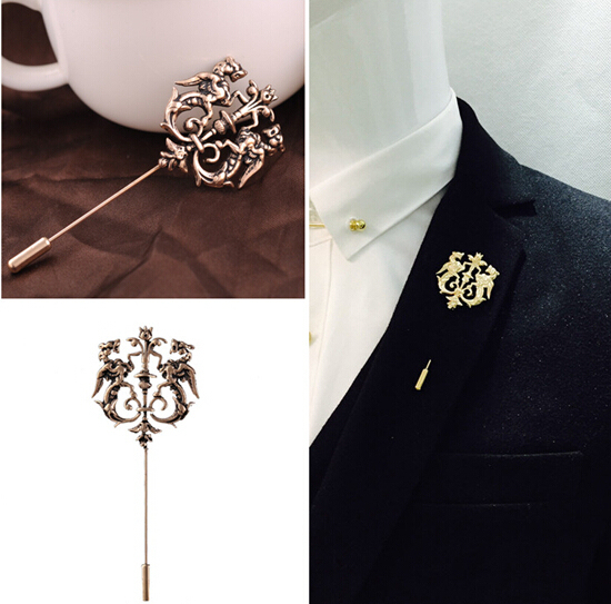 Fashion Men Lapel Pin Vintage Double Lion Brooch Pins Free Shipping Wedding Brooches For