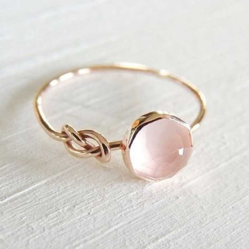 New Women Finger Rings Oval Natural Stone Cabochon Tiger Eye Opal Pink Stone Wedding Ring
