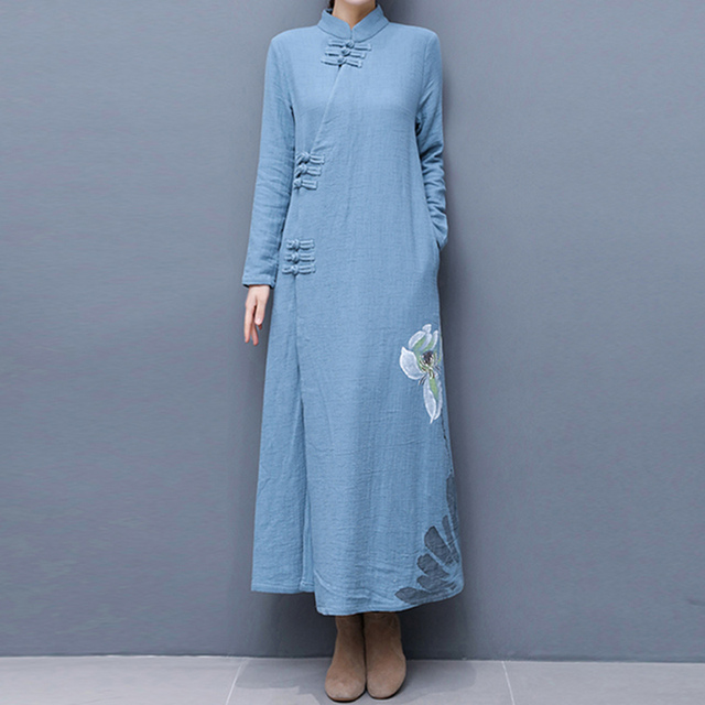 68facd60a1 Sping Autumn Style vintage Cotton Linen Dress Women Stand Collar Casual Md  Long Chinese Dresses A-line Female Vistidos WJ845