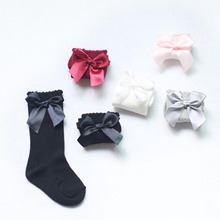 5 Colors Baby Girls Winter Solid Warm Knee High Socks with Bows Princess Cute Long Tube Kids Booties Vertical Striped Socks