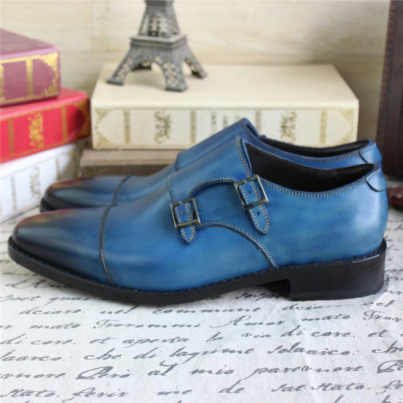 Bespoke Goodyear Welted Blue Genuine Leather Double Buckles Monk - Zapatos de hombre - foto 5