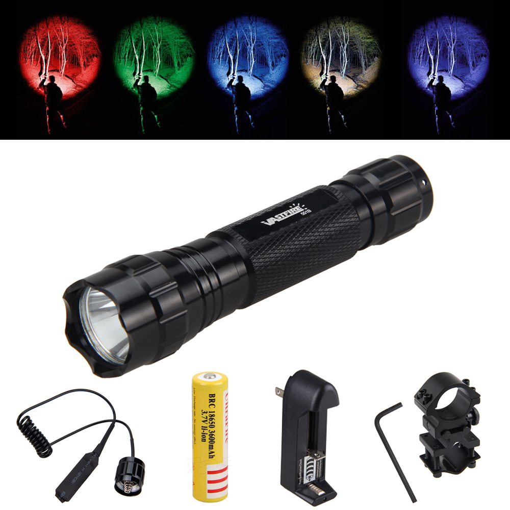 Hunting Light LED Tactical Flashlight Torch+Remote Pressure Switch +18650 Battery+Mount+Charger