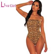 LIVA GIRL Wild Snake Leopard Print Sleeveless Bodysuit Women Cheetah Sexy Backless Strapless Bodysuits Female Skinny Body Tops