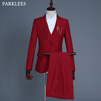 Mens Stylish Pure Dress Suit Slim Fit Wine Red Blazer Jacket For Men Stage Party Prom Bar Singer Host Costumes Homme 3 Piece Set
