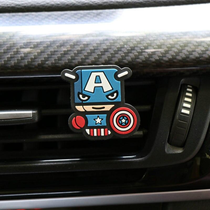 Освежитель воздуха с героями мультфильмов, автомобильный Стайлинг, духи, Мстители, Marvel, стиль для кондиционера, Вентиляционный Выход, Супермен, Бэтмен, модный, крутой - Название цвета: captain