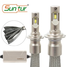 Suntur 100W 10000LM 6000K White H7 CanBus Error Free LED Fanless Headlight Bulb Fog Kit suntur 100w 9004 hb1 10000lm hi low beam light 6000k canbus error free led fanless headlight conversion kit white