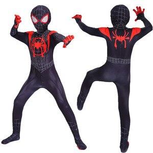 Image 4 - ילדים ספיידרמן קוספליי חדש סופר עכביש תלבושות לתוך עכביש פסוק מיילס מוראלס בגד גוף חליפת סרבלי למבוגרים מערער בגדים