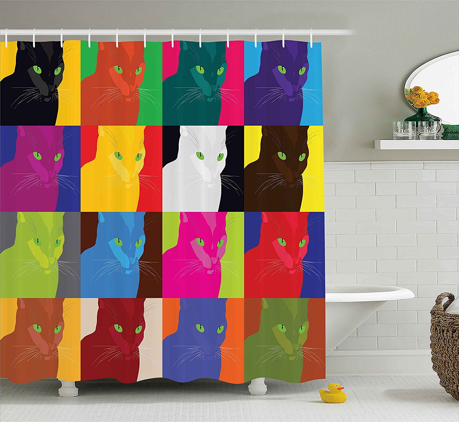 Us 16 72 21 Off Cat Decor Shower Curtain Pop Art Style Featured Fractal Kitty Portraits Frame With Color Effects Artsy Print Bathroom Decor Set In