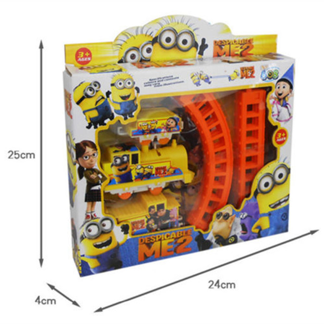 Cute Movie Character Minions Figures Electric Train Track