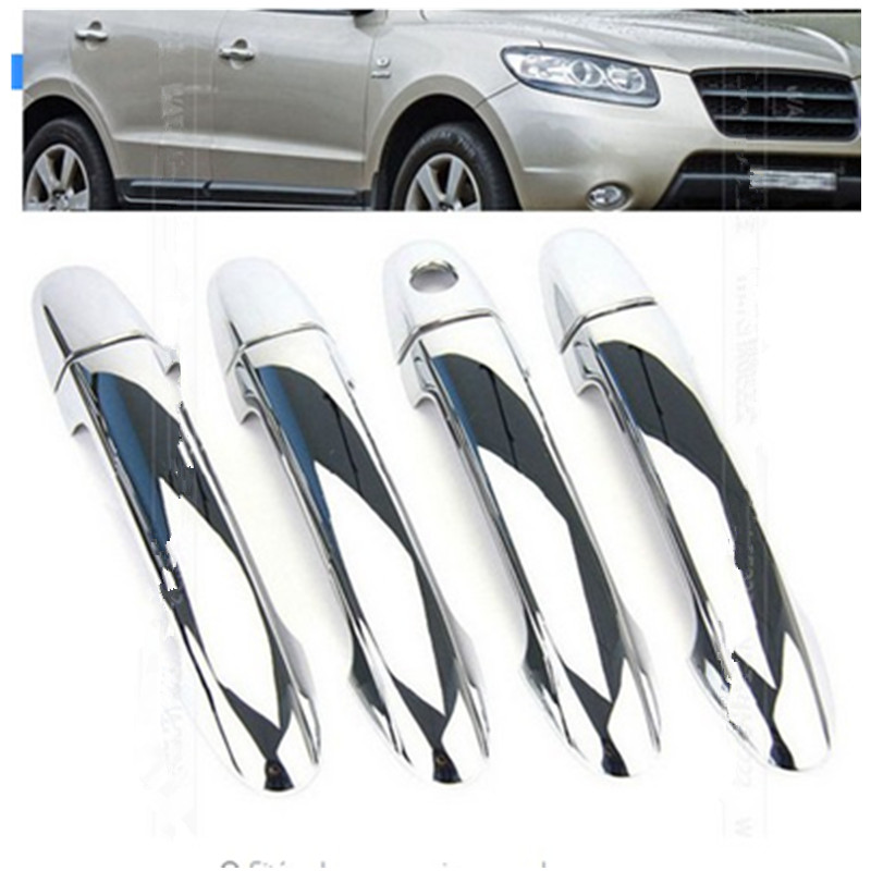 Car styling ACCESSORIES FIT FOR 2007-2012 HYUNDAI SANTA FE (CM) CHROME SIDE DOOR HANDLE BAR COVER CATCH TRIM MOLDING