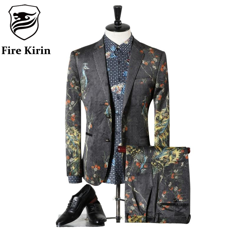 Fire Kirin Suit Men 2017 Classic Mens Suits Wedding Groom Fashion Peacock 3D Printed Prom Suits
