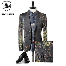 Fire Kirin Suit Men 2017 Classic Mens Suits Wedding Groom Fashion Peacock 3D Printed Prom Suits Stage Costumes For Singers Q311