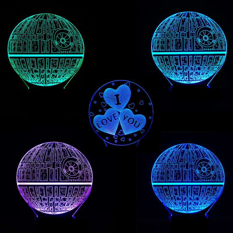 Stars Wars LED 3D Night Light 7 Colors Changed Creative Ambient Light 3D Visual Light Desk Lamp Home Lighting Bulbing Kids Gifts