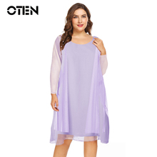 OTEN Two Piece set 5XL Plus size Clothing Women Sexy Long sleeve Loose Casual Party Chiffon midi dress trending products 2018