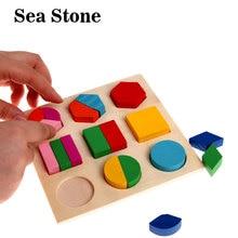 Színes Geometrikus alakú puzzle Baba gyerekek Fa tanulás Oktató játékok Gyerekek 3D formák Fa Jigsaw Puzzles brinquedos