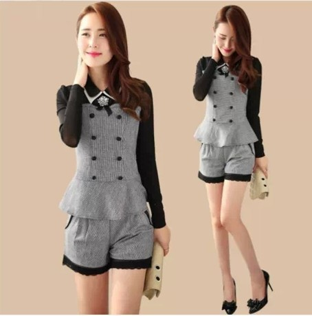2016 New women work wear formal suits lace long-sleeve tops+shorts plaids grids summer woman clothing suits black grey S~XXL
