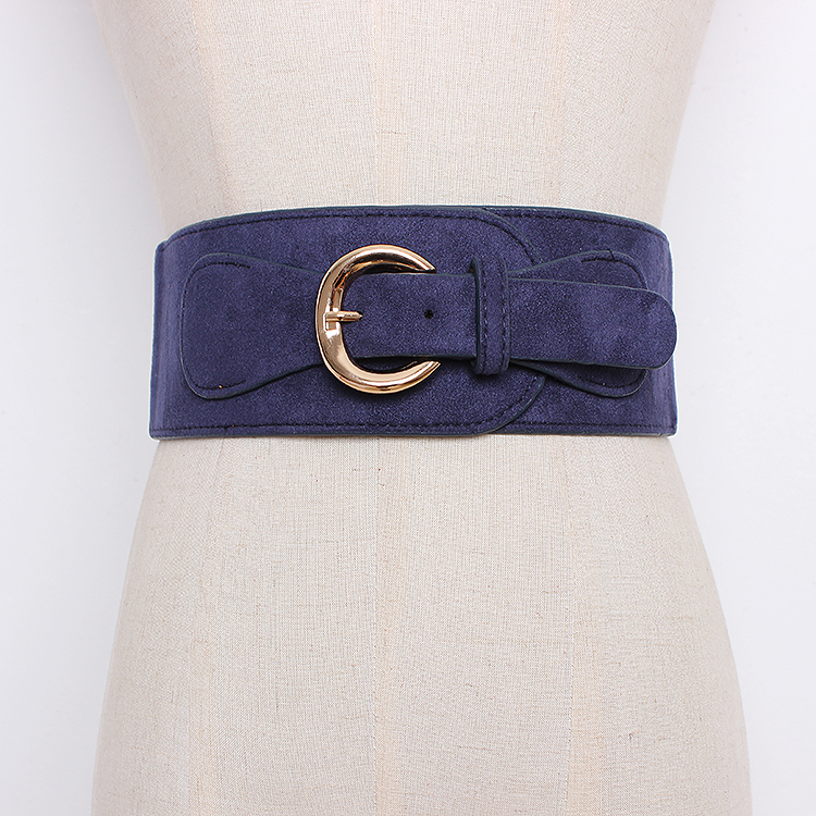 Women's Runway Fashion Faux Suede Leather Elastic Cummerbunds Female Dress Corsets Waistband Belts Decoration Wide Belt R1294