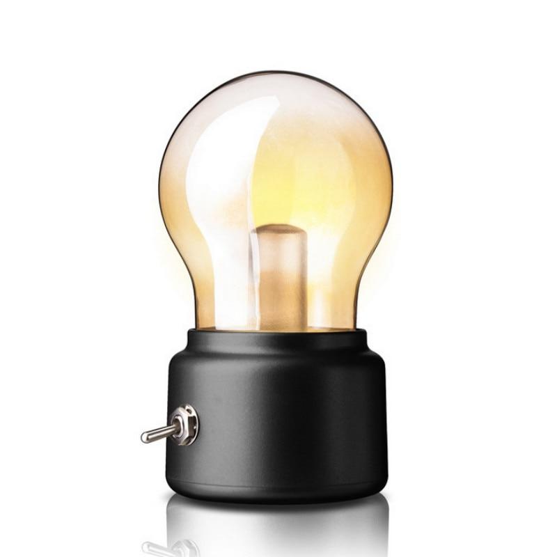 Retro Bulb Night Light USB Lamp Rechargeable Luminaria ...