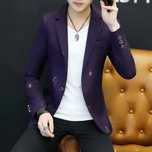 Dress Suit Jacket Fashion Leaf Gilding print Flowers Mens Blazer Casual Men Black White
