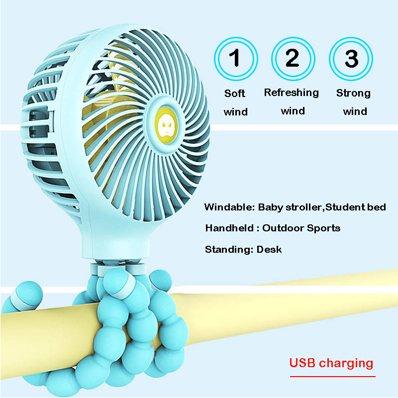 Wihoo Mini Stroller Fan Personal Portable Desk Handheld Baby Bed Fan With USB Rechargeable Battery Operated Cooling Table Fan