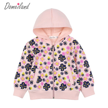 2018 new fashion brand Domeiland Children clothing cute girl cotton print floral baby Hooded long sleeve kid coats clothes