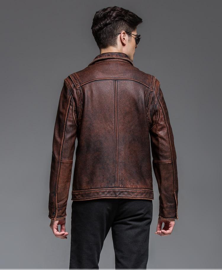 HTB1F3tBeVHM8KJjSZFwq6AibXXa7 2019 Vintage Brown Men Smart Casual Leather Jacket Single Breasted Plus Size XXXL Genuine Cowhide Russian Coat FREE SHIPPING