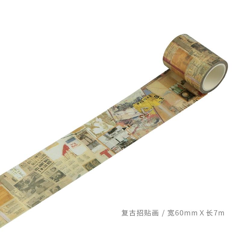 60mm Vintage Pictorial Poster Art Drawing Decoration Planner Washi Tape DIY Diary Album Scrapbooking Masking Tape Escolar