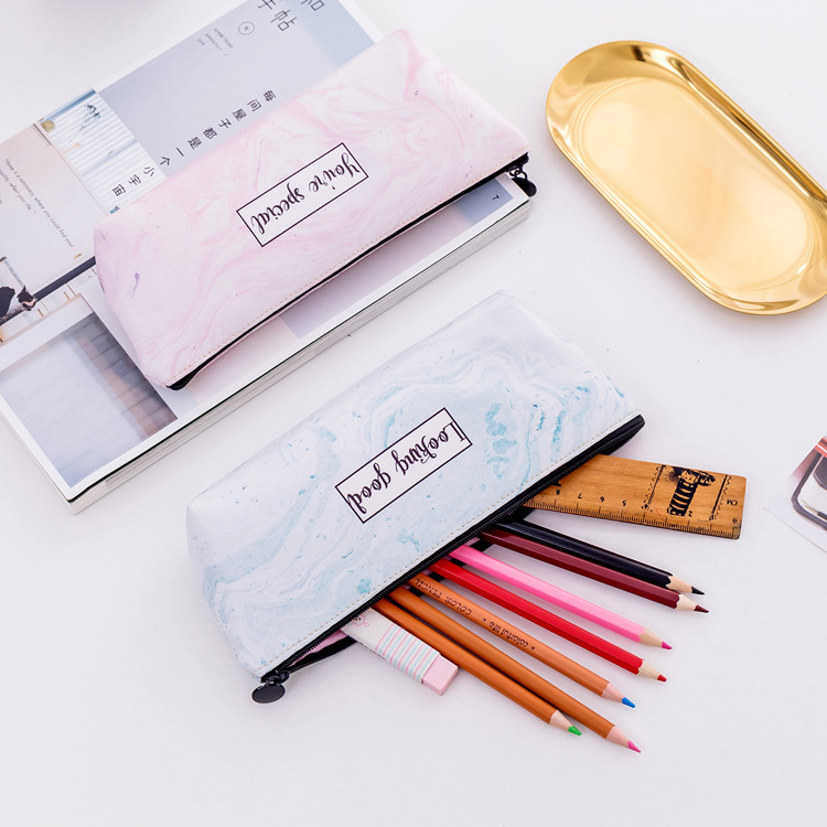 Wholesale of student stationery marble PU pencil bag multifunctional zipper stationery box in Pencil Bags from Office School Supplies