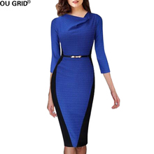Women Autumn Office Dress Blue and Black Color Block Ladies Elegant Wear to Work Knee-Length Women Clothing With Belt