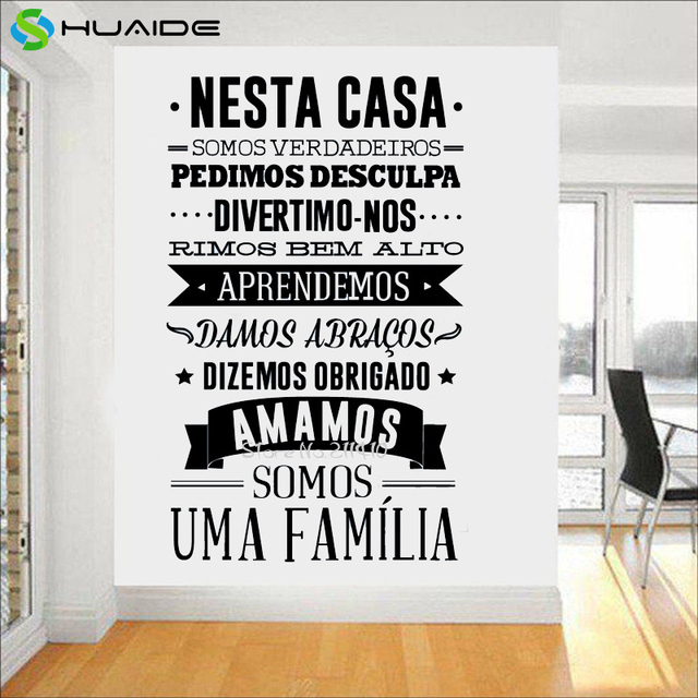 Portuguese House Rules Wall Sticker Home Decoration , Portuguese Version Large  Wall Decals Nesta Casa Em