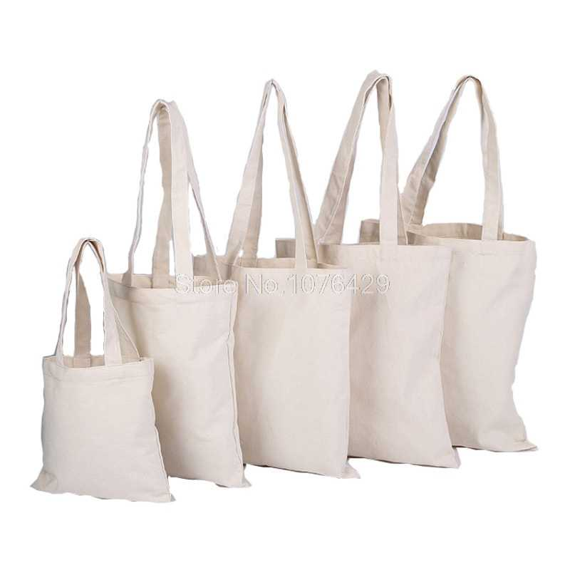 Reusable Foldable Blank Canvas Shopping Bags Casual Daily Shoulder Handbag Tote
