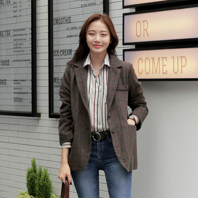 Autumn And Winter Warm Fabric Women Woolen Clothes Suit Outweart Top Female Thicken Material Strip Coffee Brown Female