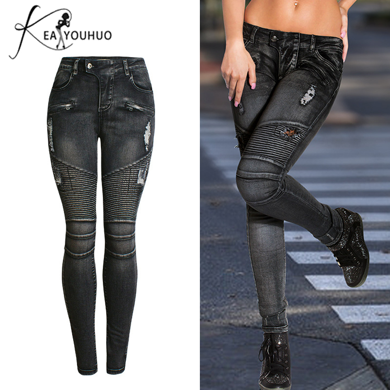 Winter 2018 Ladies Zipper High Waist Skinny   Jeans   Woman Denim Pencil Black   Jeans   Pants Large Size Ripped   Jeans   For Women Female