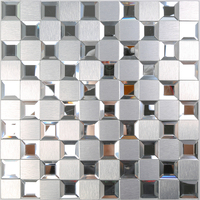 Wholesale Homey Mosaic KTV Waterproof Wall Sticker Silver New Design 30cm Adesivo De Parede Room Decoration Aluminum Alloy Panel