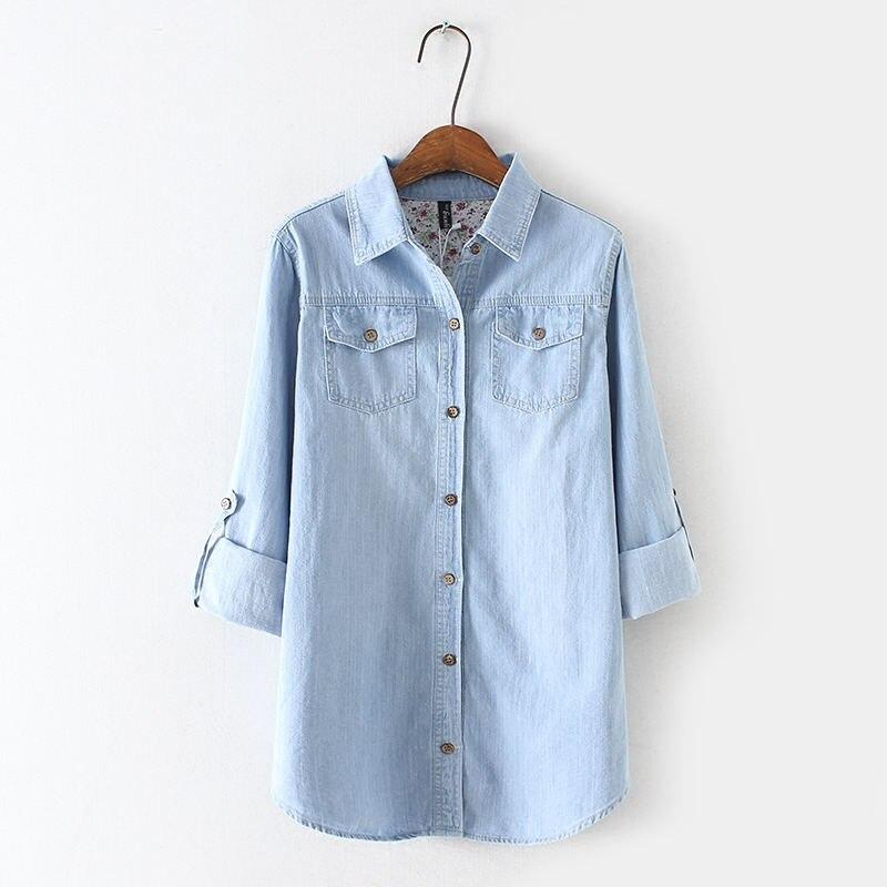 ヴィンテージジーンズシャツ女性長袖プラスサイズジーンズシャツカジュアルストリート女性はデニムシャツブラウス女性服 Stop118 Dreawse 最終割引