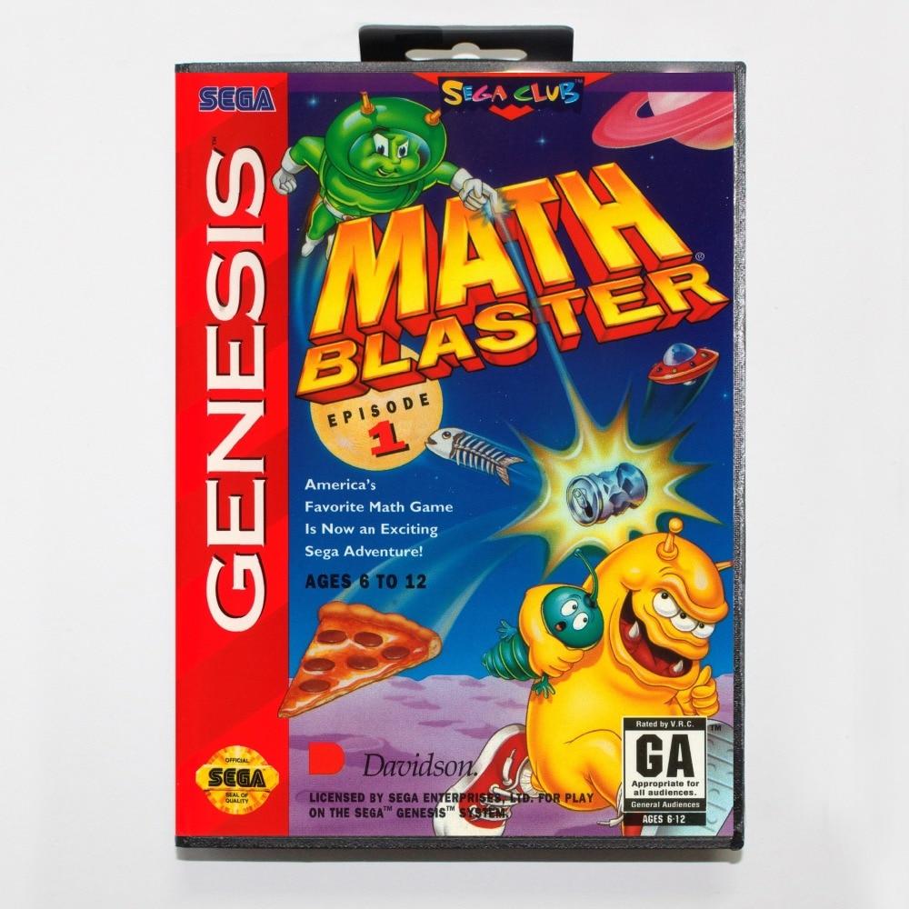 New 16 bit MD game card - mathblasterepisode1 with Retail box For Sega genesis system