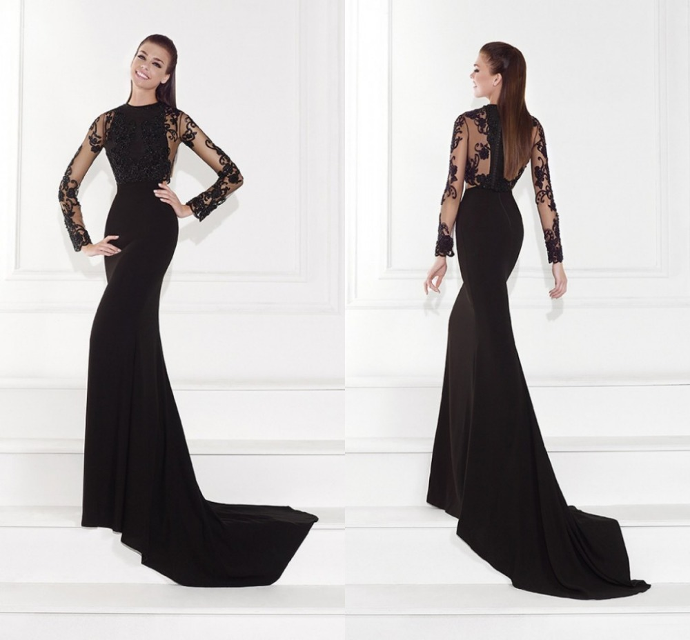 Aliexpress.com : Buy Famous Designer Mermaid Black Gowns with Full ...