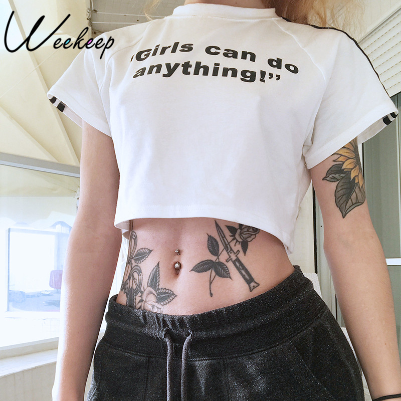Weekeep Women Sexy Cropped Letter Print Short Sleeve Stripped t shirt Summer White Cotto ...