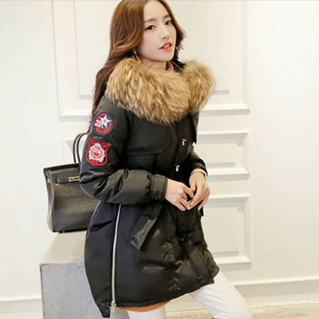 Large Real Natural Raccoon Fur 2018 New Fashion Winter Jacket Women Thicken Warm Coat White Duck Down Jacket Parkas